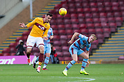 3rd November 2018, Fir Park, Motherwell, Scotland; Ladbrokes Premiership football, Motherwell versus Dundee; Ryan Bowman of Motherwell and Calvin Miller of Dundee