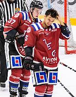2020-01-11 | Umeå, Sweden: Teg (15) Josh Villaflor maybe got a headake after a collission in AllEttan during the game  between Teg and Piteå at A3 Arena ( Photo by: Michael Lundström | Swe Press Photo )<br /> <br /> Keywords: Umeå, Hockey, AllEttan, A3 Arena, Teg, Piteå, mltp200111