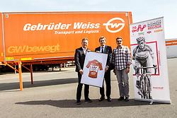 12.04.2018, Gebrüder Weiss Gesellschaft, Maria Lanzendorf, AUT, 70. Oesterreich Rundfahrt, Fotoshooting, im Bild Tourdirektor Franz Steinberger (Oe- Tour), Vorstandsvorsitzender Wolfgang Niessner (Gebrüder Weiss) // during a foto shooting of the 70 th Tour of Austria at the Gebrüder Weiss Gesellschaft, Maria Lanzendorf, Austria on 2018/04/12. EXPA Pictures © 2018, PhotoCredit: EXPA/ Sebastian Pucher