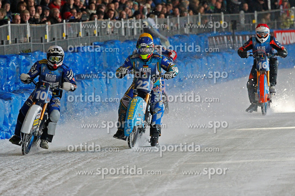 13.03.2016, Assen, BEL, FIM Eisspeedway Gladiators, Assen, im Bild Niklas Kallin Svensson (SWE), Guenter Bauer (GER), Rene Stellingwerf (NED) // during the Astana Expo FIM Ice Speedway Gladiators World Championship in Assen, Belgium on 2016/03/13. EXPA Pictures &copy; 2016, PhotoCredit: EXPA/ Eibner-Pressefoto/ Stiefel<br /> <br /> *****ATTENTION - OUT of GER*****