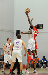Bristol Flyers' Alif Bland wins the tip off - Photo mandatory by-line: Dougie Allward/JMP - Mobile: 07966 386802 - 18/04/2015 - SPORT - Basketball - Bristol - SGS Wise Campus - Bristol Flyers v Leeds Force - British Basketball League