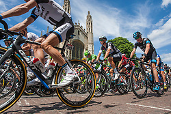 Image ©Licensed to i-Images Picture Agency. 07/07/2014. Cambridge, United Kingdom. Tour de France Stage 3 Cambridge. Riders pass Kings College Cambridge. Picture by Terry Harris / i-Images