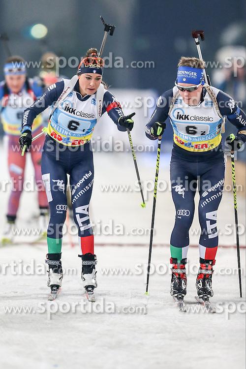 28.12.2015, Veltins Arena, Gelsenkirchen, GER, IBU Weltcup Biathlon, auf Schalke, im Bild Dorothea Wierer (Italien/IT) und Lukas Hofer (Italien/IT) // during the IBU Biathlon World Cup at Veltins Arena in Gelsenkirchen, Germany on 2015/12/28. EXPA Pictures &copy; 2015, PhotoCredit: EXPA/ Eibner-Pressefoto/ Kohring<br /> <br /> *****ATTENTION - OUT of GER*****