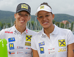 29.07.2014, Klagenfurt, Strandbad, AUT, A1 Beachvolleyball Grand Slam 2014, im Bild Stefanie Schwaiger 1 AUT / Lisa Chukwuwa 2 AUT // during the A1 Beachvolleyball Grand Slam at the Strandbad Klagenfurt, Austria on 2014/07/29. EXPA Pictures © 2014, EXPA Pictures © 2014, PhotoCredit: EXPA/ Mag. Gert Steinthaler