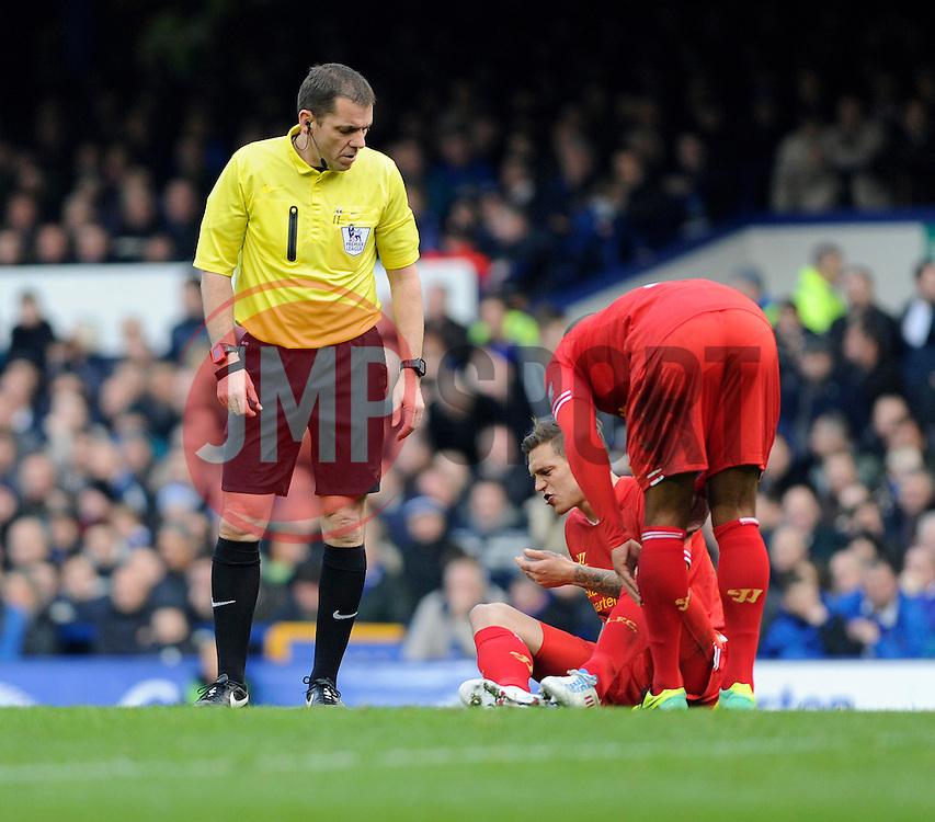 Liverpool's Daniel Agger receives an injury - Photo mandatory by-line: Dougie Allward/JMP - Tel: Mobile: 07966 386802 23/11/2013 - SPORT - Football - Liverpool - Merseyside derby - Goodison Park - Everton v Liverpool - Barclays Premier League