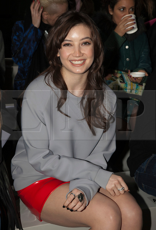 © Licensed to London News Pictures. 18 February 2014, London, England, UK. Pictured: fashion model Daisy Lowe. Celebrities attend the Fashion East show during London Fashion Week AW14 at the Topshop Showspace/Tate Modern. Photo credit: Bettina Strenske/LNP