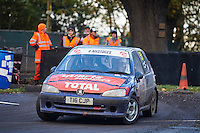 #51 Chris Phillips / Sarah Hughes Peugeot 106 Gti Baladuring Neil Howard Memorial Stage Rally, and opening round of the 2015 Motorsport News Rally Championship.  at Oulton Park, Little Budworth, Cheshire, United Kingdom. November 07 2015. World Copyright Peter Taylor. Copy of publication required for printed pictures.  Every used picture is fee-liable. http://archive.petertaylor-photographic.co.uk