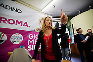 Rome may 14 th 2016, the candidate for Rome's mayor Giorgia Meloni visits a senior center in the suburb of Tor Sapienza