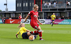 Millie Farrow of Bristol City Women gets past the tackle of Rosie Lane of Oxford United - Mandatory by-line: Robbie Stephenson/JMP - 25/06/2016 - FOOTBALL - Stoke Gifford Stadium - Bristol, England - Bristol City Women v Oxford United Women - FA Women's Super League 2