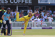 Georgia Wareham of Australia bowling during the Royal London Women's One Day International match between England Women Cricket and Australia at the Fischer County Ground, Grace Road, Leicester, United Kingdom on 4 July 2019.