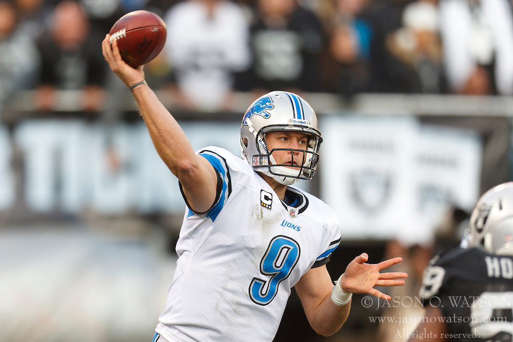 Dec 18, 2011; Oakland, CA, USA; Detroit Lions quarterback Matthew Stafford (9) passes the ball against the Oakland Raiders during the fourth quarter at O.co Coliseum. Detroit defeated Oakland 28-27. Mandatory Credit: Jason O. Watson-US PRESSWIRE