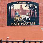 Horse & carriage mural on brick wall, Fairhaven, Bellingham, Washington