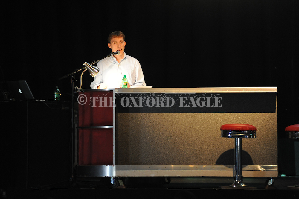 """Jason Sokol speaks on """"Desegregating Southern Restaurants"""" following a a film presentation, during the 17th annual Southern Foodways Symposium, at the Lyric in Oxford, Miss. on Friday, October 24, 2014."""