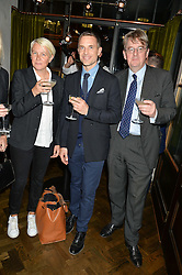 Left to right, EMMA HINDLEY, HUGO MACGREGOR and ROBERT HARDMAN at a dinner hosted by Lucy Yeomans and Amanada Foreman to celebrate the launch of the film Georgiana, Duchess of Devonshire held at sackville's, Sackville Street, London on 7th September 2015.