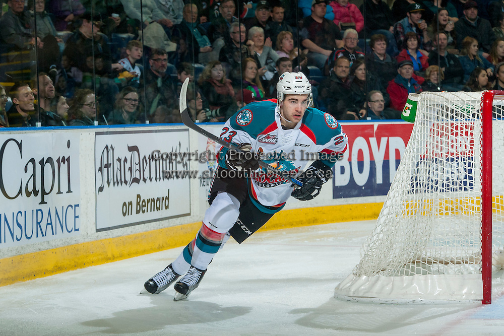 KELOWNA, CANADA - FEBRUARY 18: Reid Gardiner #23 of the Kelowna Rockets skates behind the net against the Prince George Cougars on February 18, 2017 at Prospera Place in Kelowna, British Columbia, Canada.  (Photo by Marissa Baecker/Shoot the Breeze)  *** Local Caption ***