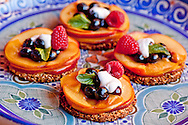 Nectarine and berry tartlet