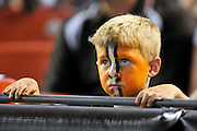 Sept. 2, 2010; Cleveland, OH, USA; A young Cleveland Browns fan watches with anticipation during the final moments of the fourth quarter of the game between the Cleveland Browns and the Chicago Bears at Cleveland Browns Stadium. The Cleveland Browns beat the Chicago Bears 13-10. Mandatory Credit: Jason Miller-US PRESSWIRE
