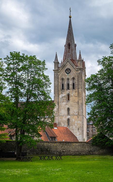 LATVIA, CESIS - CIRCA JUNE 2014: View of St. John's Church tower in Cesis
