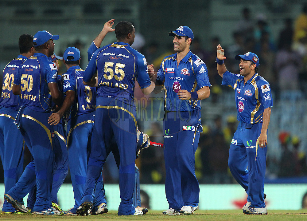 Mumbai Indians celebrate the win during match 5 of of the Pepsi Indian Premier League between The Chennai Superkings and the Mumbai Indians held at the MA Chidambaram Stadiumin Chennai on the 6th April 2013..Photo by Ron Gaunt-IPL-SPORTZPICS ..Use of this image is subject to the terms and conditions as outlined by the BCCI. These terms can be found by following this link:..http://www.sportzpics.co.za/image/I0000SoRagM2cIEc