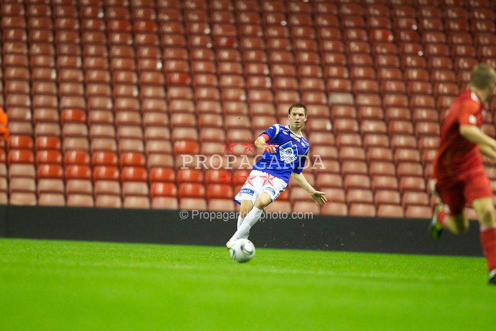LIVERPOOL, ENGLAND - Thursday, September 29, 2011: Molde FK's captain Sean Cunningham in action against Liverpool during the NextGen Series Group 2 match at Anfield. (Pic by Vegard Grott/Propaganda)