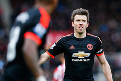Michael Carrick of Manchester United looks on - Mandatory byline: Rogan Thomson/JMP - 26/12/2015 - FOOTBALL - Britannia Stadium - Stoke, England - Stoke City v Manchester United - Barclays Premier League - Boxing Day Fixture.