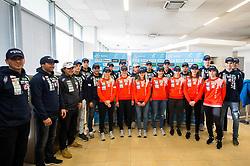 Group photo during press conference of Slovenian Ski Jumping teams  before new season 2018/19, on November 13, 2018 in Gorenje shop, Crnuce, Ljubljana, Slovenia. Photo by Vid Ponikvar / Sportida