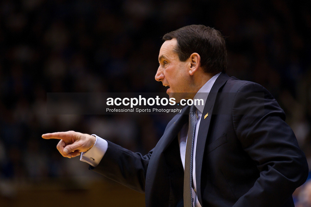 DURHAM, NC - JANUARY 09: Head coach Mike Krzyzewski of the Duke Blue Devils coaches his team while playing the Maryland Terrapins on January 09, 2011 at Cameron Indoor Stadium in Durham, North Carolina. Duke won 71-64. (Photo by Peyton Williams/Getty Images) *** Local Caption *** Mike Krzyzewski