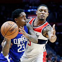 09 December 2017: LA Clippers guard Lou Williams (23) drives past Washington Wizards guard Bradley Beal (3) during the LA Clippers 113-112 victory over the Washington Wizards, at the Staples Center, Los Angeles, California, USA.