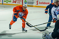 PENTICTON, CANADA - SEPTEMBER 9: Caleb Jones #82 of Edmonton Oilers takes a shot on net during morning skate on September 9, 2017 at the South Okanagan Event Centre in Penticton, British Columbia, Canada.  (Photo by Marissa Baecker/Shoot the Breeze)  *** Local Caption ***
