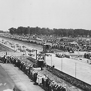 The start of the 1932 Indianapolis 500.  The Studebaker Corporation entered a five-car team in 1932.