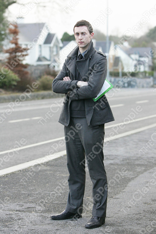 Brian Markham (Independent) pictured canvassing on the Tulla Road in Ennis.<br /> Pic Emma Jervis / Press 22