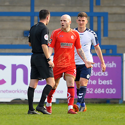 TELFORD COPYRIGHT MIKE SHERIDAN 22/4/2019 - James CLifton remonstrates with the referee after his goal is ruled out for Alfreton  during the Vanarama Conference North fixture between AFC Telford United and Alfreton Town at the New Bucks Head