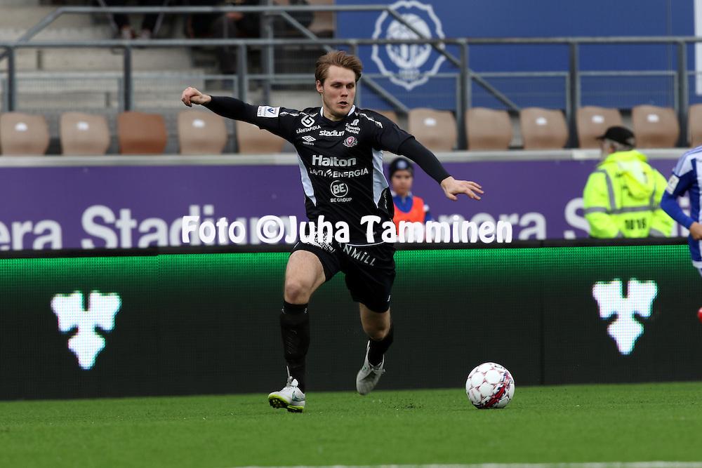 19.4.2015, Sonera stadion, Helsinki.<br /> Veikkausliiga 2015.<br /> Helsingin Jalkapalloklubi - FC Lahti..<br /> Markus Joenm&auml;ki - FC Lahti