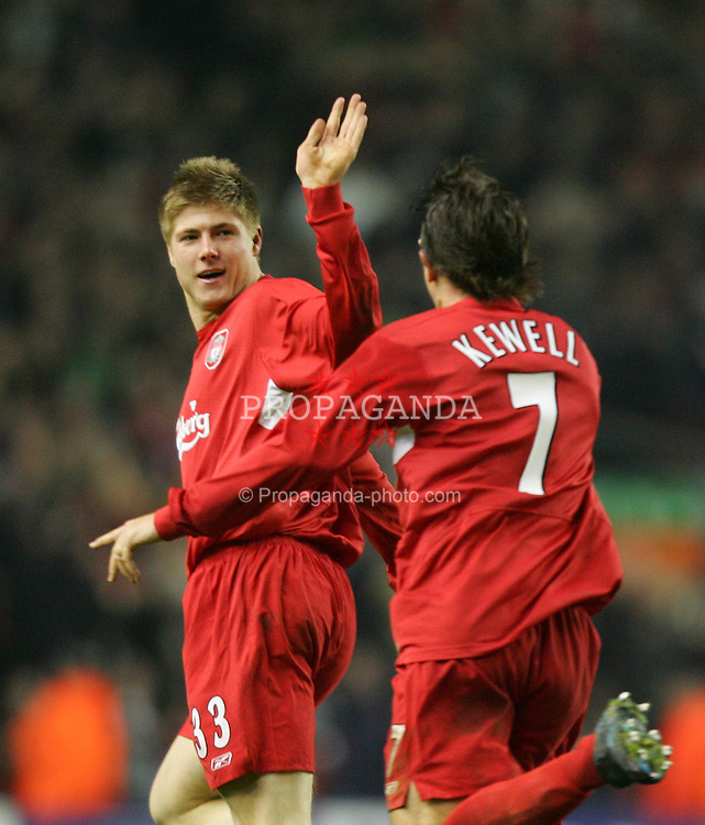 LIVERPOOL, ENGLAND- WEDNESDAY DECEMBER 8th 2004: Liverpool's Neil Mellor celebrates scoring the second goal against Olympiakos with team-mate Harry Kewell during the UEFA Champions League Group A match at Anfield. (Pic by David Rawcliffe/Proparganda)