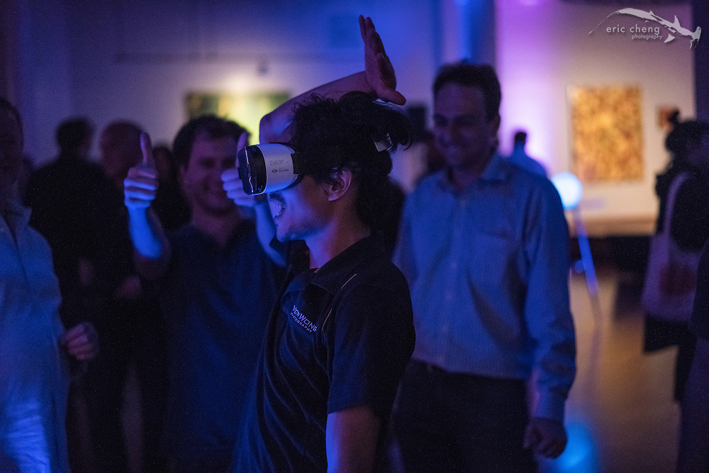 Ben Von Wong goes crazy while plugged into Samsung Gear VR. Light.co L16 camera launch party at Terra Gallery in San Francisco
