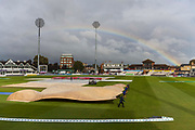 General view with a rainbow over the Cooper Associates County Ground as the sun breaks through the cloud after a lengthy delay in play due to rain during the Specsavers County Champ Div 1 match between Somerset County Cricket Club and Essex County Cricket Club at the Cooper Associates County Ground, Taunton, United Kingdom on 23 September 2019.