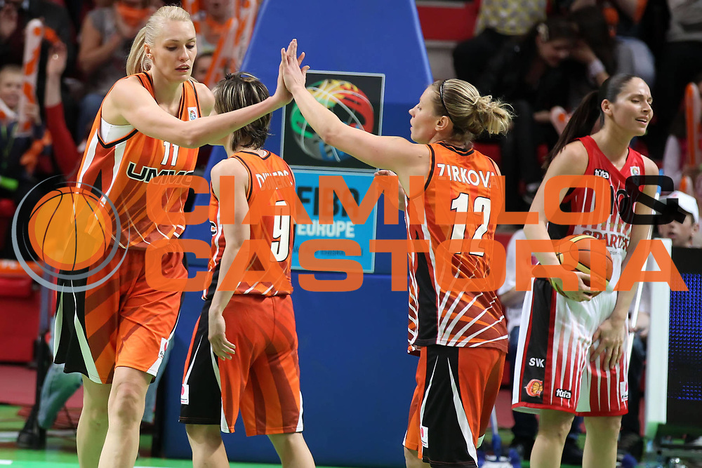 DESCRIZIONE : Ekaterinburg Fiba Euroleague Women 2010-2011 Final Four Semi-Final Sparta&amp;K Moscow Region Vidnoje UMMC Ekaterinburg<br /> GIOCATORE : Maria Stepanova Zuzana Zirkova<br /> SQUADRA : UMMC Ekaterinburg<br /> EVENTO : Euroleague Women<br /> 2010-2011<br /> GARA : Sparta&amp;K Moscow Region Vidnoje UMMC Ekaterinburg<br /> DATA : 08/04/2011<br /> CATEGORIA : esultanza<br /> SPORT : Pallacanestro <br /> AUTORE : Agenzia Ciamillo-Castoria/ElioCastoria<br /> Galleria : Fiba Europe Euroleague Women 2010-2011 Final Four<br /> Fotonotizia : Ekaterinburg Fiba Euroleague Women 2010-2011 Final Four Semi-Final Sparta&amp;K Moscow Region Vidnoje UMMC Ekaterinburg<br /> Predefinita :
