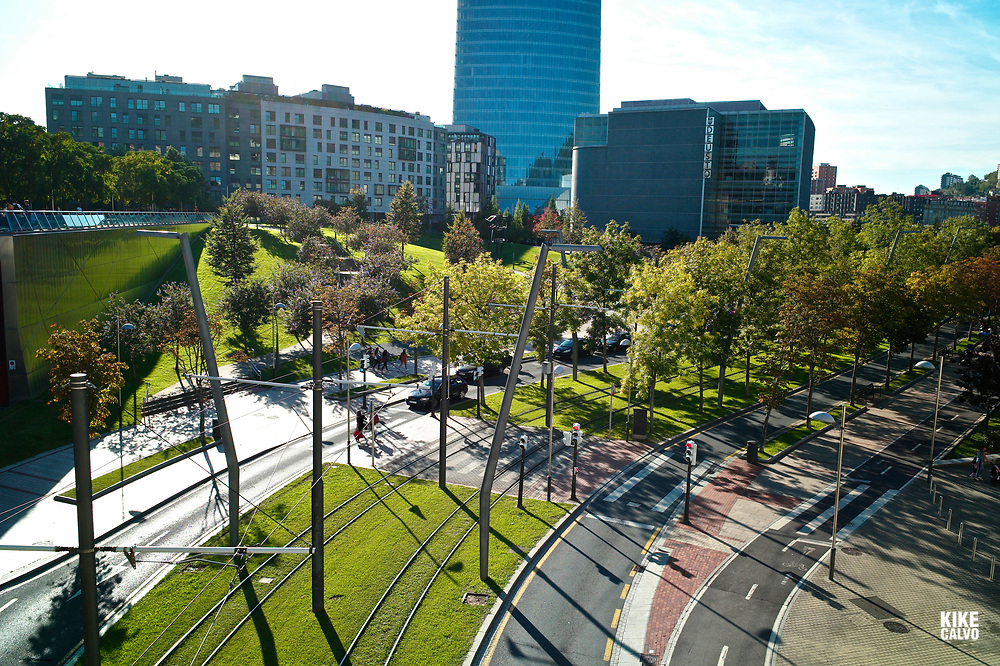 Green Tramway Tracks in Bilbao