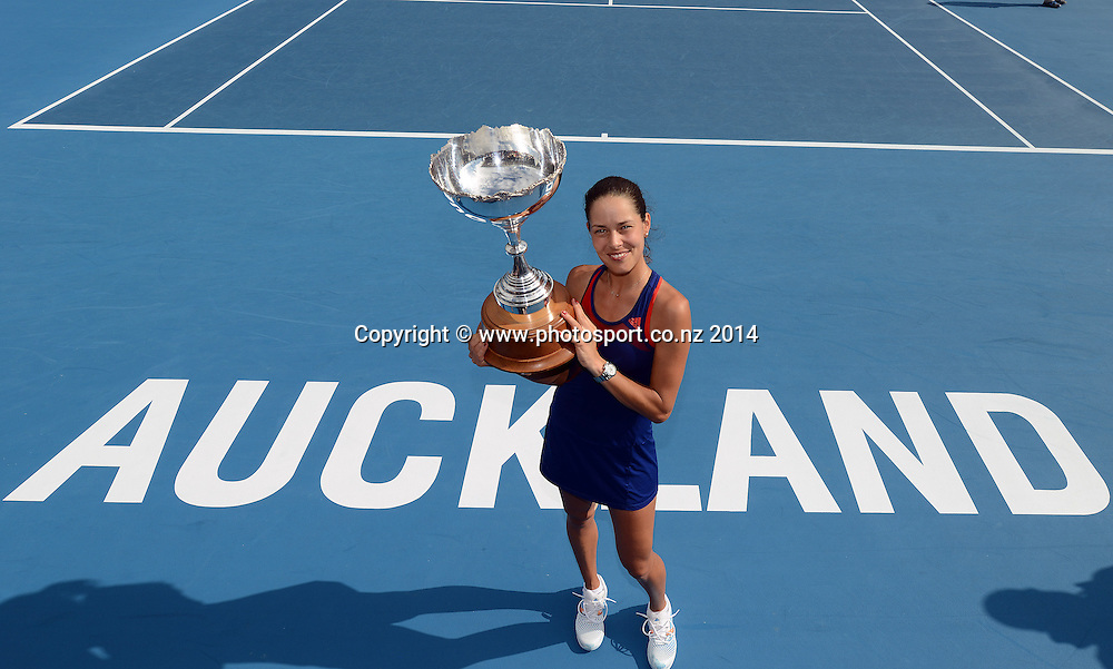 Serbia's Ana Ivanovic poses for a photo with the ASB Classic Trophy after winning the singles final against Venus Williams 6-2, 5-7, 6-4 at the ASB Classic Women's International. ASB Tennis Centre, Auckland, New Zealand. Saturday 4 January 2014. Photo: Andrew Cornaga/www.photosport.co.nz