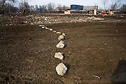 A roadblock in the Belville Roma settlement in New Belgrade.