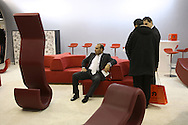DEU, Germany, Cologne, IMM Cologne, the international furniture fair at the exhibition center Koelnmesse, stand of the Italian company BRF.....DEU, Deutschland, Koeln, Internationale Moebelmesse, IMM Cologne in den Messehallen, Koelnmesse, Stand der italienischen Firma BRF...