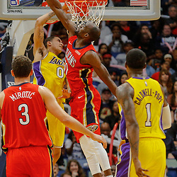 Feb 14, 2018; New Orleans, LA, USA; New Orleans Pelicans center Emeka Okafor (50) blocks a shot by Los Angeles Lakers forward Kyle Kuzma (0) during the second half at the Smoothie King Center. The Pelicans defeated the Lakers 139-117. Mandatory Credit: Derick E. Hingle-USA TODAY Sports