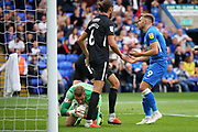 Peterborough United forward Matt Godden (9) rues this missed chance  during the EFL Sky Bet League 1 match between Peterborough United and Portsmouth at London Road, Peterborough, England on 15 September 2018.