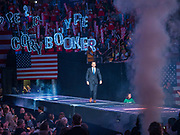 01 NOVEMBER 2019 - DES MOINES, IOWA: PETE BUTTIGIEG, Mayor of South Bend, IN, and candidate for president, walks onto the stage at the Liberty and Justice Celebration in the Wells Fargo Arena in Des Moines. The Liberty and Justice Celebration is a fund raiser for the Iowa Democratic Party. Many of the Democratic candidates for the US presidency spoke at the 2019 Celebration. Iowa holds the first presidential selection event of the 2020 election cycle. The Iowa Caucuses are Feb. 3, 2020.           PHOTO BY JACK KURTZ