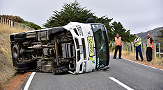 Wellington-No injuries as school bus rolls, Makara