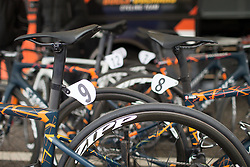 Boels-Dolmans Cycling Team bikes are lined up before the Trofeo Alfredo Binda - a 131,1 km road race, between Taino and Cittiglio on March 18, 2018, in Varese, Italy. (Photo by Balint Hamvas/Velofocus.com)