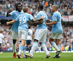 01.05.2010, City of Manchester Stadium, Manchester, ENG, PL, Manchester City vs Aston Villa im Bild Craig Bellamy of Manchester City celebrates with teamates after he scores the 3rd goal, EXPA Pictures © 2010, PhotoCredit EXPA/ Marc Atkins / SPORTIDA PHOTO AGENCY