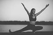Laura doing yoga at White Rock Lake in Dallas, Texas on November 7, 2014.