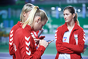 Warsaw, Poland - 2017 December 08: (L) Tennis player  Paulina Czernik from Poland while Photo Session of Fed Cup Team of Polish Tennis Association at Mera Tennis Club on December 08, 2017 in Warsaw, Poland.<br /> <br /> Mandatory credit:<br /> Photo by &copy; Adam Nurkiewicz / Mediasport<br /> <br /> Adam Nurkiewicz declares that he has no rights to the image of people at the photographs of his authorship.<br /> <br /> Picture also available in RAW (NEF) or TIFF format on special request.<br /> <br /> Any editorial, commercial or promotional use requires written permission from the author of image.