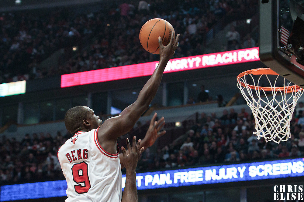 30 October 2010: Chicago Bulls Luol Deng goes to the basket during the Chicago Bulls 101-91 victory over the Detroit Pistons at the United Center, in Chicago, Illinois, USA.